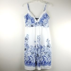 BOSTON PROPER Muse by Blue Floral Summer Dress 10
